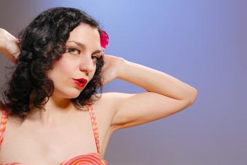 Retro fifties pin-up  girl in vintage bikini portrait