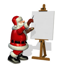 A cartoon Santa is about to paint on a blank canvas - 3D render.