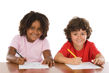 A couple of kids studding over white background