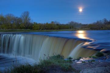 Full Moon Over night Waterfall