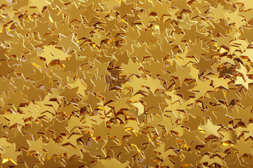 Close-up of star shaped confetti decorations