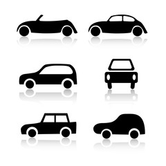 Set of 6 car icon variations