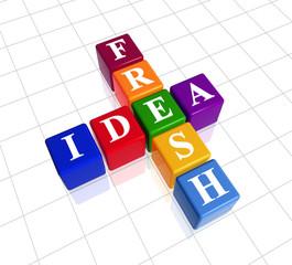 3d colour boxes, white letters with text - fresh idea, crossword