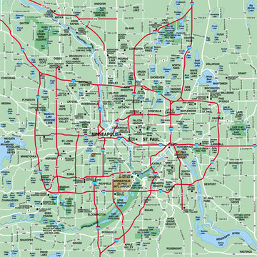 Minneapolis, MN Metropolitan Area Map