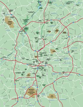 Atlanta , GA Metropolitan Area Map