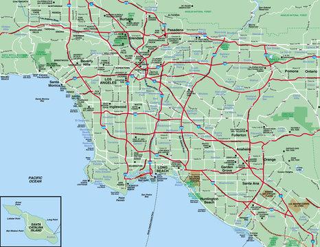Los Angeles, CA  Metropolitan Area map