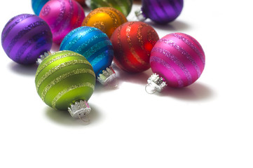 Colorful striped Christmas baubles or balls