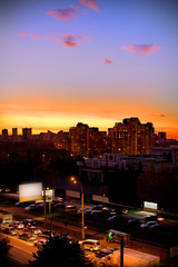 city is going to sleep, beautiful sunset in the town