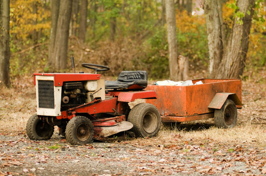 lawn tractor mower antique vintage with hitch and trailer