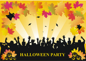 Halloween party background with autumn leaves
