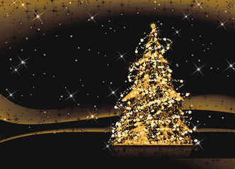 Decorated Christmas tree shining in the night, illustration