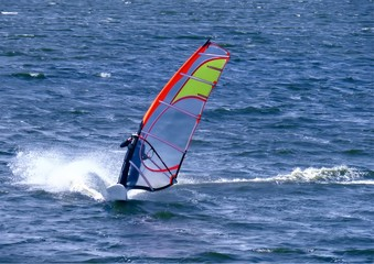 Windsurfer in Powerhalse in Nahaufnahme