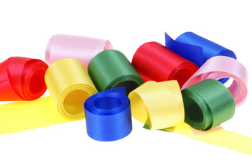 colourful ribbon rolled up in rolls isolated on white background