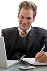 Businessman working on laptop computer, smiling,