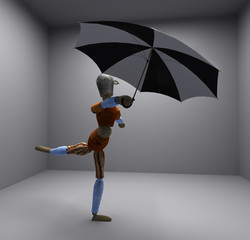 puppet with umbrella