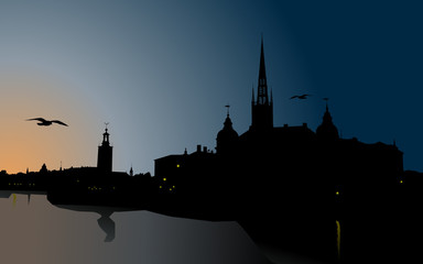 Silhouette of Stockholm, The City Hall, Riddarholm cathedral