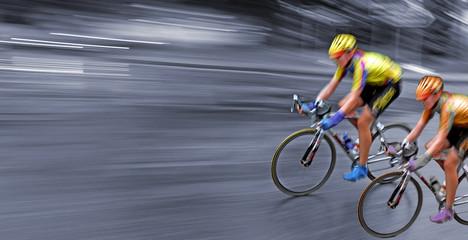 Speedy bicyclists in motion, race, rally, monochrome background,