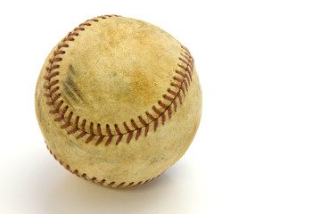 Old baseball with scuff marks and a clipping path