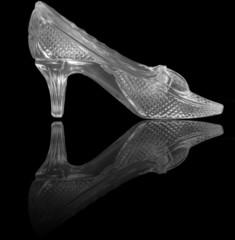 woman glass shoe on black