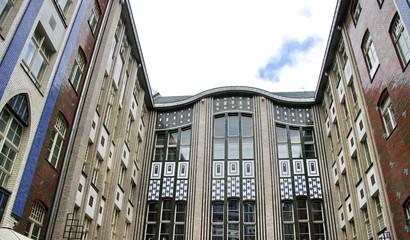 Façade d'immeuble en verre et céramique, Berlin.