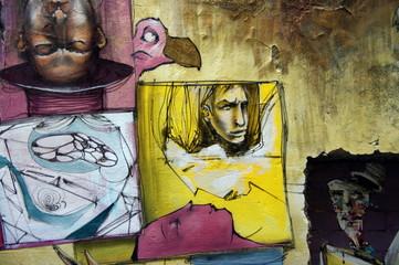 Personnages dessinés sur un mur, Berlin, Allemagne.