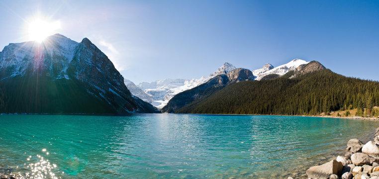 Panoramic view of lake Louise