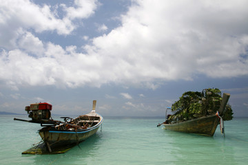 fishing boats in a small island at Puckett in Thailand