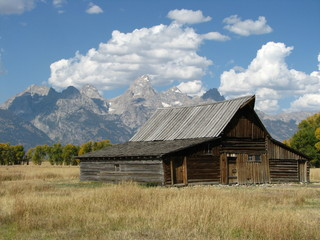 old barn on mormon road in grand tetons national park