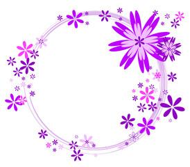 Cercle rose avec fleurs roses, violettes et blanches