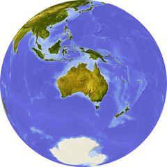Globe, centered on Australia, with clipping path.
