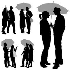 couple under an umbrella vector