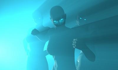 female cyborgs in blue mist