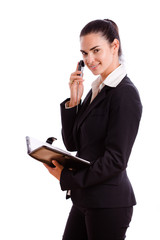Happy businesswoman calling on mobile phone,