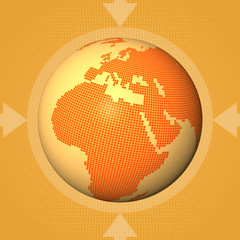 square, digital world multimedia orange background