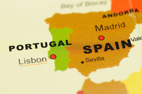 Close up of Portugal and Spain on Map
