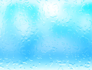 wet glass, waterdrops pattern on blue glass.
