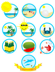 Set of ten summer illustrations in blue circles