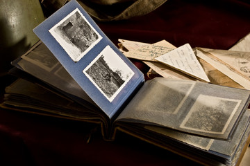 historical documents: old letters and photograph album from war