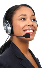 Beautiful  business woman with headset. Over white background .