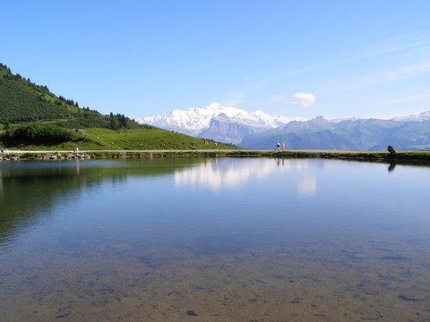 lac de joux plane, vue Mont blanc