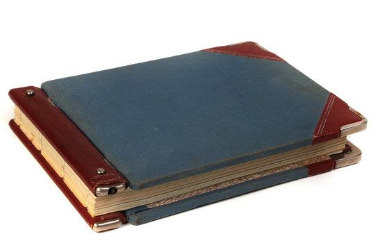 Linen blue cover of vintage handwritten  ledger book