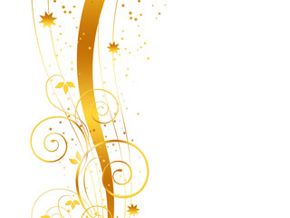 Golden Christmas background on white