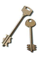 Two gold keys on a white background