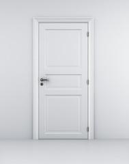 3d rendering of a door in a white room