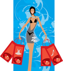 vector image of buyer with few bags after shopping