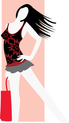 vector image of brunette with bag