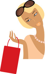 vector image of pretty blonde after shopping