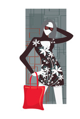 vector image of woman with red bag