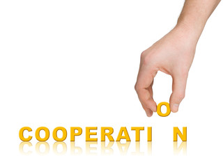 Hand and word Cooperation, business concept