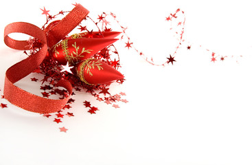 beautiful red seasonal Christmas decorations on white